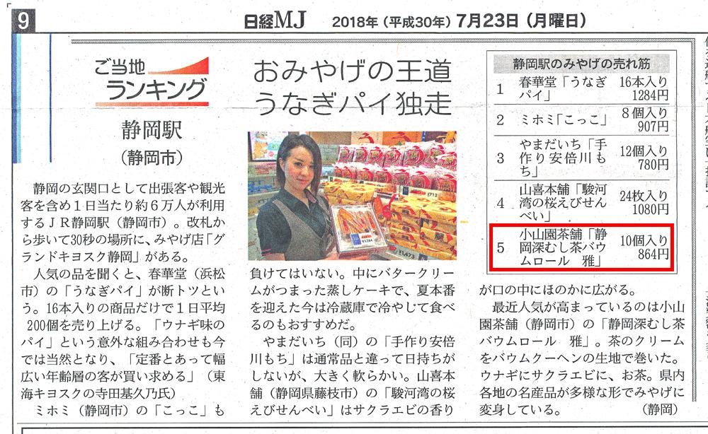 日経MJに掲載されました。 おみやげランキング第5位!!